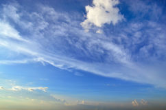 Clear blue sky with white cloud (Wallpaper, background, artwork, abstract design) Royalty Free Stock Photo