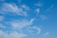 Clear blue sky and white clouds. Stock Photos