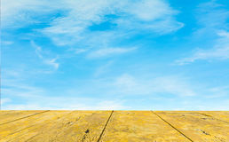clear blue sky and wood floor, background Royalty Free Stock Images