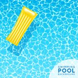 Clear blue swimming pool water background with floating air mattress. For banners, brochures, invitations about spring break, travel, and summer. Vector Stock Image