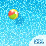 Clear blue swimming pool water background with floating beach ball. For banners, brochures, invitations about spring break, travel, and summer. Vector Royalty Free Stock Photo