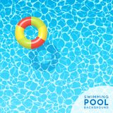 Clear blue swimming pool water background with floating pool toy. Clear blue swimming pool water background with floating swim ring. For banners, brochures Stock Photography