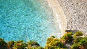 Clear blue tropical sea beach. Clear blue paradisiac tropical sea beach stock video