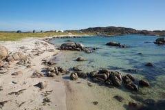 Clear blue turquoise sea Scottish beach of Fidden near Fionnphort Isle of Mull Scotland uk Royalty Free Stock Photo