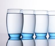 Clear Blue Water Glasses Royalty Free Stock Image