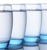 Clear Blue Water Glasses Royalty Free Stock Images
