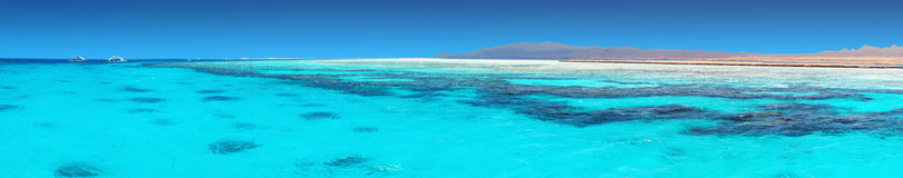 Clear blue water of a Red Sea. Crystal clear blue coral water of a Red Sea Stock Photos