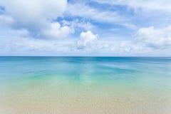 Clear blue water, tropical beach and horizon. Horizon over clear blue coral water of a tropical island beach, Ishigaki Island, Okinawa, Japan Royalty Free Stock Photography