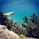 Clear blue water view Greece Royalty Free Stock Photos