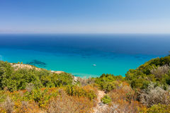 Clear blue water in Zakynthos, Greece Royalty Free Stock Images