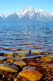 The clear blue waters of Yellowstone show hidden rocks. Royalty Free Stock Photo