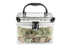Clear box filled with money Stock Images