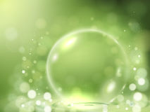 Clear bubble element. Decorative things on green bokeh background, 3d illustration Stock Photography