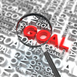 Clear business goal. Business goal with magnifying glass, 3d render Stock Image