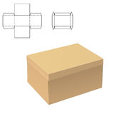 Clear Carton Box. Vector Illustration of Clear Gift Carton Box for Design, Website, Background, Banner. Package Template isolated on white. Retail pack with for Royalty Free Stock Photography