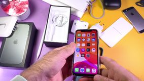 clear case for iPhone 11 Pro on table colorful