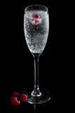 Clear champagne with a raspberry. Clear sparkling wine in a champagne flute with a red raspberry floating in it Royalty Free Stock Photography