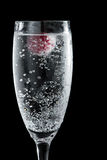 Clear champagne with a raspberry. Clear sparkling wine in a champagne flute with a red raspberry floating in it Stock Photo