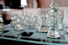Clear chess set Stock Images