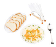 Clear Chicken Broth with Sliced Bread. Isolated over white. Bon appetit Stock Images