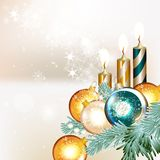 Clear Christmas background with baubles and fir branches Stock Photo