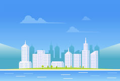 Clear city landscape background. Day city scape background.  Royalty Free Stock Photography