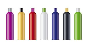 Clear Cosmetic Colored Bottles Royalty Free Stock Image