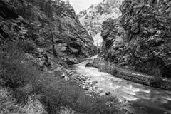 Clear Creek Canyon near Tunnel. Clear Creek near Golden, Colorado Stock Image