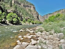 Clear Creek. Follows a portion of I-70 in Colorado and offers some of Colorado's most thrilling whitewater rafting Stock Image