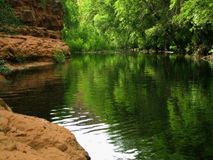 Clear Creek Swimming Hole. A pleasant swimming hole in the West Clear Creek Wilderness in central Arizona stock photos