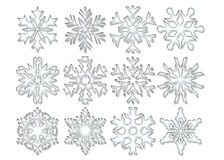 Clear Crystal Snowflakes. Graphic illustration of different patterns of clear crystal snowflakes Royalty Free Stock Photography