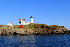 Clear day with blue skies, Famed Nubble Lighthouse,York,Maine,September,2014 Royalty Free Stock Images