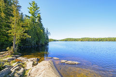 Clear Day and a Calm Lake in the North Woods Royalty Free Stock Photos