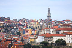 Clear day in the city of Porto. Old Town. Red tiled roofs of old Stock Photography