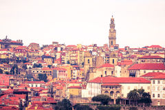 Clear day in the city of Porto. Old Town. Red tiled roofs of old Stock Images