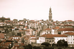 Clear day in the city of Porto. Old Town. Red tiled roofs of old Royalty Free Stock Photo