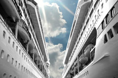 Clear Day Cruise. Intentional merge of past and present between ships Stock Images