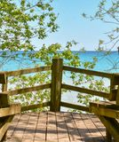A Clear Day on Lake Michigan. A clear day by Lake Michigan is just what the Doctor ordered for some peace of mind. One of the Look out spots at the Schlitz stock photos