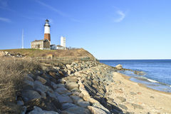 Clear Day on Montauk Point. Lighthouse perched on Montauk Point on the Eastern tip of Long Island on a beautiful SPring Day Royalty Free Stock Images