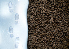 Clear deep footprints on white winter snow of a pair of boots. Track in snow. Overhead view. Image of soil texture vector illustration