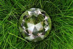 Clear diamond in the green grass Stock Photos