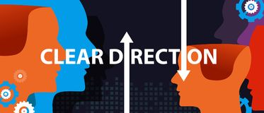 Clear direction concept of leadership head thinking as a team. Vector royalty free illustration