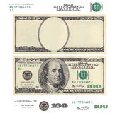 Clear 100 dollar banknote template and elements
