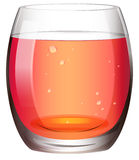 A clear drinking glass with juice. Illustration of a clear drinking glass with juice on a white background Stock Images