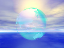 Clear earth. Clear transparent earth over sea Royalty Free Stock Images