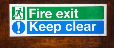 Clear för Keep för brandutgång Royaltyfria Foton
