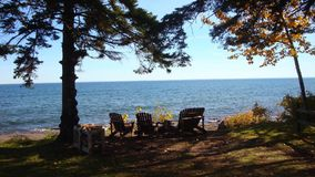 Clear fall day lake superior minnesota Stock Photo