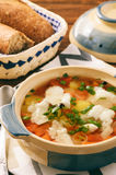 Clear fish soup with vegetables. Stock Photo