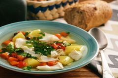 Clear fish soup with vegetables. Stock Images