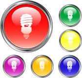 Clear Fluorescent Light Bulb Button. This is a Fluorescent Light Bulb Button for internet design Stock Photography